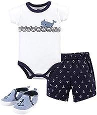Hudson Baby Unisex Baby Cotton Bodysuit, Shorts and Shoe Set, Blue Sailor Whale, 3-6 Months