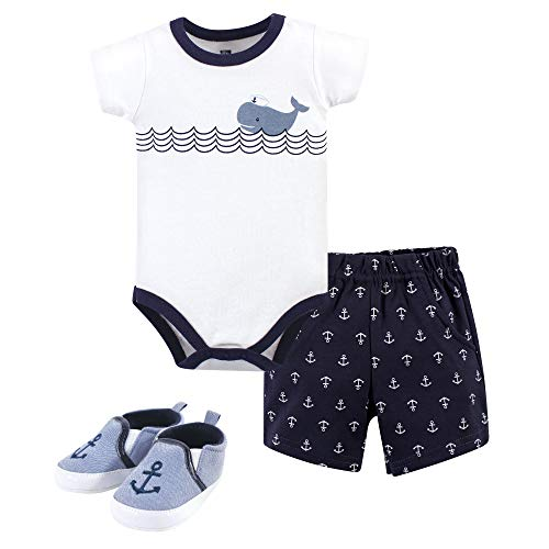 Hudson Baby Unisex Baby Cotton Bodysuit, Shorts and Shoe Set, Blue Sailor Whale, 12-18 Months
