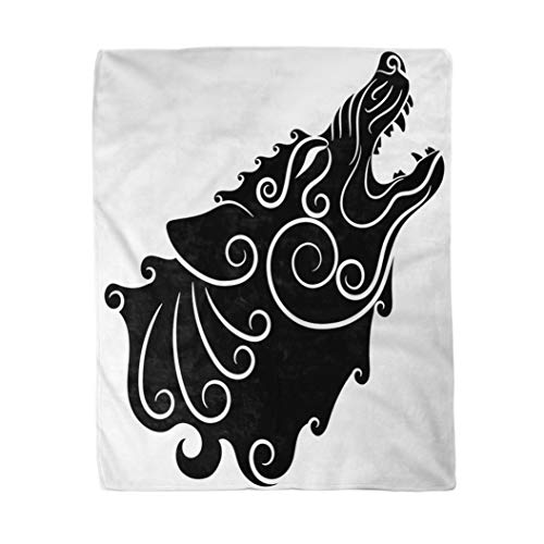 rouihot 60x80 Inches Flannel Throw Blanket Wolf on Celtic Style Howling Wolf in Celtic Ornament Isolated on White Home Decorative Warm Cozy Soft Blanket for Couch Sofa Bed