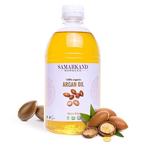 500 ml Olio di Argan BIOLOGICO 100% Puro Prima Pressione a Freddo per Pelle e Capelli - Originale dal Marocco