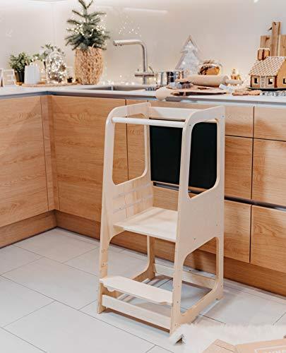 Torre de Aprendizaje Montessori con pizarra - Plataforma de Madera para Trepar en la Cocina para Bebés y Niños - Torres Ajustables para Encimeras y Mesa - Taburete Seguro y Duradero - Learning Tower (Producto para bebé)