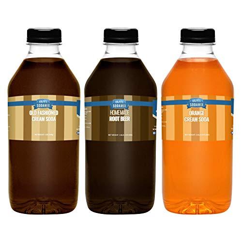 Ralph's 32oz (Quart) THREE Pack Sparkling Water Soda Maker Flavors Syrup | Cream Soda | Root Beer | Orange Cream Soda | Sodamix