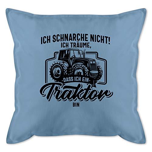 Kissen mit Spruch - Ich schnarche nicht ich träume dass ich ein Traktor bin schwarz - Unisize - Hellblau - kissen traktor spruch - GURLI Kissen mit Füllung - Kissen 50x50 cm und Dekokissen mit