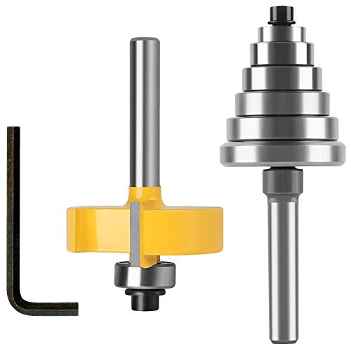 """1/4 Inch Shank Rabbet Router Bits with 6 Bearings Set,3/8"""",1/2"""",5/8"""",3/4"""",7/8"""",1-1/8"""""""