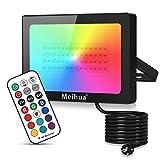 Foco RGB Led 50W, MEIHUA Foco 13 Colores con Control Remoto, 13 colores+4 modos+6brillo regulable, Foco Proyector Exteriores para Jardín, Camino, Bar, Discoteca [Clase de eficiencia energética A+]