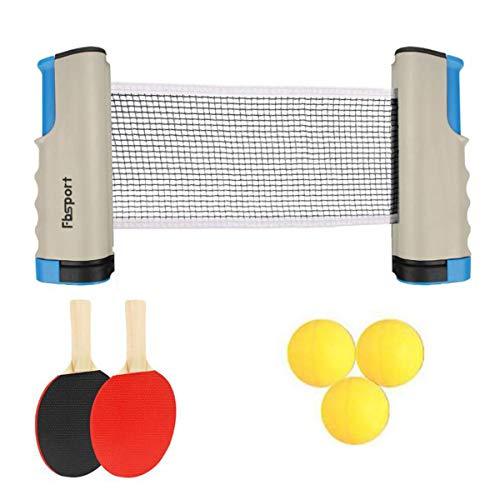FOOING Juego de Red de Tenis de Mesa, 3 Pelotas de Ping Pong, 1 par de Palas de Tenis de Mesa, Accesorio retráctil instantáneo para Raqueta, Portátil para Interior al Aire Libre Regalo (Gris)
