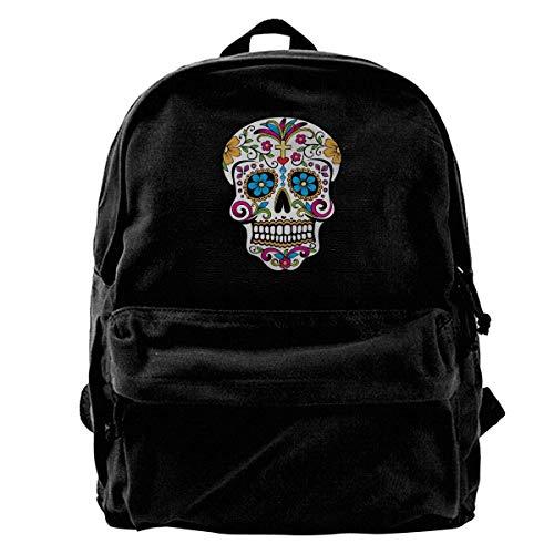 Canvas Backpack Sugar Skull Rucksack Gym Hiking Laptop Shoulder Bag Daypack For Men Women