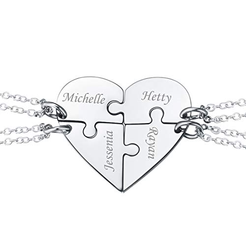 BFF Necklace for 4 Stainless Steel Chain Personalized Family Love/Friendship Jewelry Set Personalized Engraving Split Heart Pendants for 4 Best Friend Graduation Gift