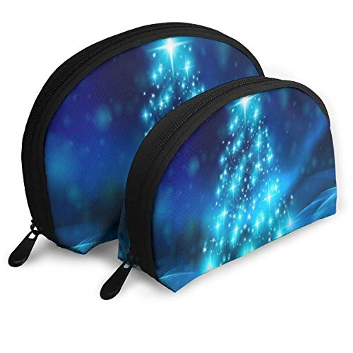 Tree Christmas Glitter Sparks Portable Clutch Bag Shell Shape Large One for Ladies Cosmetics Storage