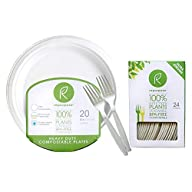 "Repurpose 100% Compostable Plant-Based Dessert Pack | 6"" Plate and Fork Set 