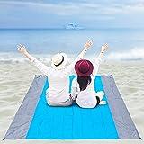 Beach Blanket Waterproof Sandproof Lightweight, Durable Beach Mat, Easy to Set up Beach Blanket Sandproof with 4 Stakes, Large Waterproof Picnic Blanket + Bag & Carabiner by The Scarlet Macaw - Blue