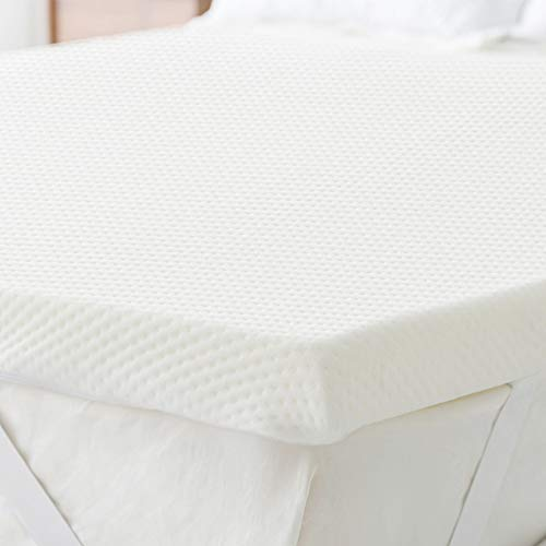 BUZIO 5-cm Memory Foam Mattress Topper with Zippered Cover, Hypoallergenic Mattress Protector, 150 x 200 cm UK King size Bed