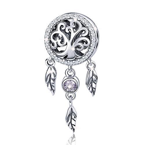 Ciondolo da donna in argento sterling 925 compatibile con bracciali Pandora,acchiappasogni Holder famiglia di albero perline charms Fit collana bracciali Regali natale per madre