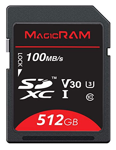 MagicRAM 512GB SDXC UHS-1 Card - V30, Class 10, U3, 4K SD Card for Professional Video Shooting & Photography