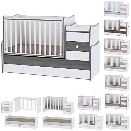 Lit bébé évolutif/combiné Maxi Plus Gris Lorelli (Le lit se transforme en lit dadolescent, bureau, armoire multifonction)