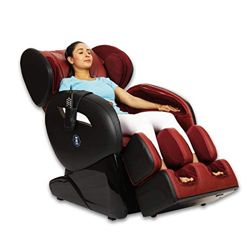 JSB MZ30 Massage Chair for Home Full Body Pain & Stress Relief (Leather) Red-Black