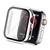 Yolovie Compatible for Apple Watch SE Series 6/5/ 4 Case with Tempered Glass Screen Protector 40mm, Hard PC Bumper Overall Protective Cover Frame for iwatch Accessories (40mm Silver)