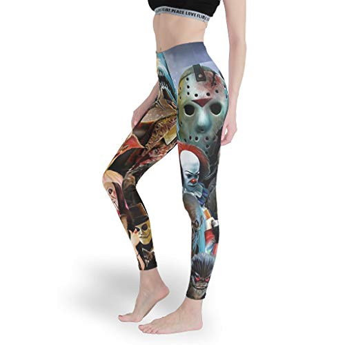Halloween Horror Film Charakter Mädchen Dehnbar Leggings Cool Custom Yoga Hosen Laufen Capris Tights für Sport White 3XL