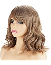14'' Short Curly Women Girl's Charming Synthetic Wig with Air Bangs Wig Cap Included (Lovely Pink)