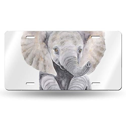 Watercolor Baby Elephant Design Pattern Durable and Strong Aluminum Car License Plate 6inch X 12inch