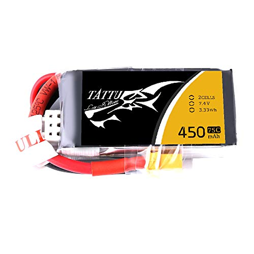 Tattu 450mAh 2S1P 75C 7.4V Lipo Battery Pack for Small Size FPV Blade Torrent 110 Baby Hawk Micro 2 E-Flite 180 CFX