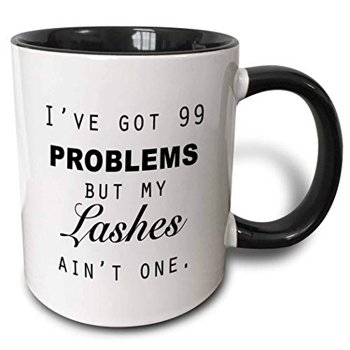 Novelty Ceramic Mug 11 oz Funny Coffee Mug Unique Gift Ive Got 99 Problems But My Lashes Aint One. Two Tone Mug Black Coffee Cup with Colored Rim and Handle for Men Women