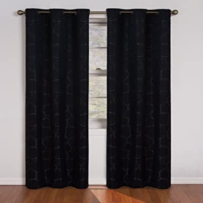 ECLIPSE Blackout Curtains for Bedroom - Meridian Insulated Darkening Single Panel Grommet Top Window Treatment Living Room