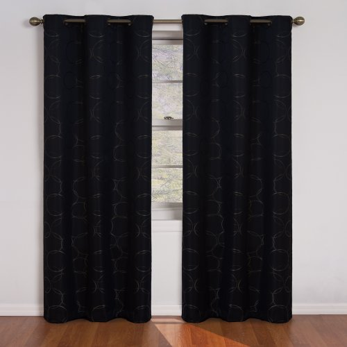 "ECLIPSE Meridian Thermal Insulated Single Panel Grommet Top Darkening Curtains for Living Room, 42"" x 108"", Black"