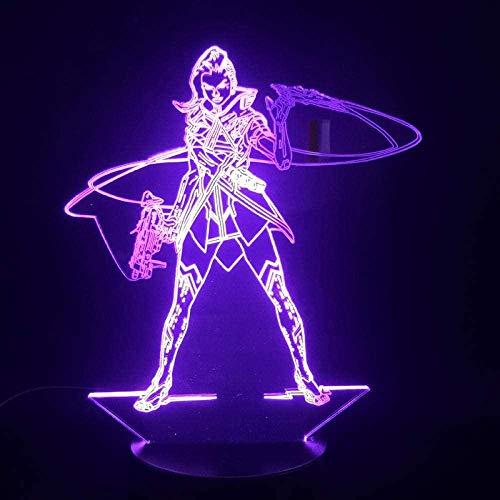 3D Ilusión LED de luz nocturna Juego Overwatch Hero Sombra alimentado por batería multicolor con USB decorativo cabecera remoto