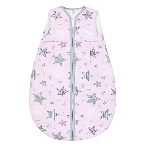 TupTam Baby Ganzjahres Schlafsack ohne Ärmel Wattiert, Farbe: Sterne Schwarz/Rosa, Größe: 80-86