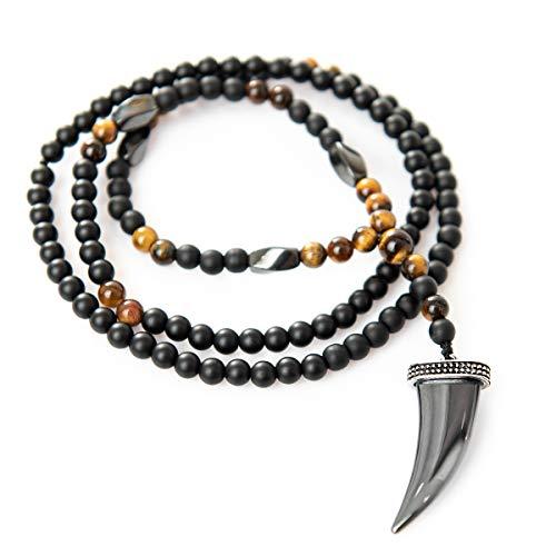 Perla Style Collar Largo para Hombre,Colgante con Hematita Uña de Leon Collar Surfero de Piedras Negras de ónix Mate y Ojo de Tigre de 6mm