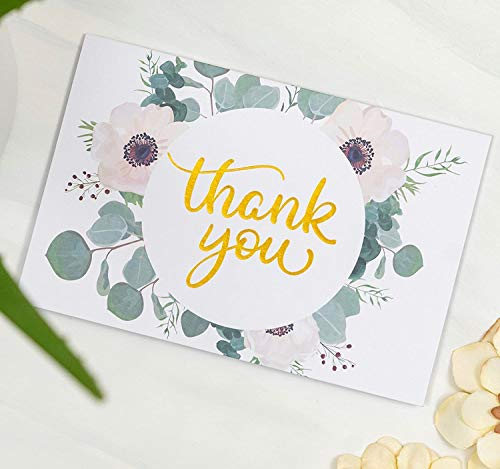 Wedding Thank You Cards with Envelopes | 48 Gold Foil Floral Thank You Cards | Baby Shower Thank You Cards Floral | Bridal Shower Card | Wedding Card Thank You Notes With Envelopes Set | 4x6 Inches