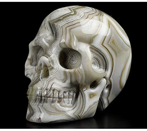 Skullis 1.8″ Red Crazy Lace Agate Crystal Skull, Hand Carved Gemstone Fine Art Sculpture, Reiki Healing Stone Statue.1297