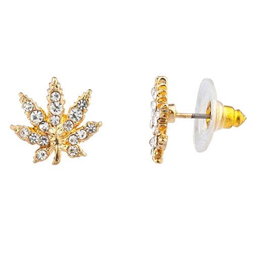 Lux Accessories Marijuana Leaf Pave Crystal 420 Weed Pot Stud Earrings