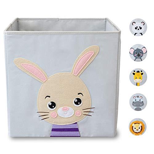 wonneklein Aufbewahrungsbox Kinder I Spielzeugkiste Kinderzimmer I Spielzeug Box (33x33x33 cm) zur Aufbewahrung I passt ins Ikea Kallax Regal I Kallax Box I grau mit Tier Motiv als Deko (Henry Hoppel)