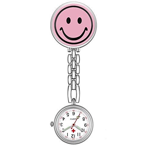 HYY-YY. Krankenschwester-Uhr-Brosche 1x Nettes Lächeln Gesicht Krankenschwester Fob-Brosche-hängende Taschen Sporter Taschenuhr (Farbe: Pink) (Color : Pink)