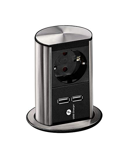 Bachmann 928.017 Steckdosenelement Elevator 1 x Schuko-2x USB-Ladebuchse, Edelstahl Effekt, 250 V, Schwarz, Silber