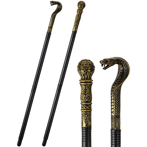 2 Pieces Cane Prop Walking Stick Cane with Egyptian Snake Staff Antique Gold Walking Cane Vintage Snake Staff Cane Stick Halloween Costume Accessory for Halloween Pharaoh Theme Party Photo Props