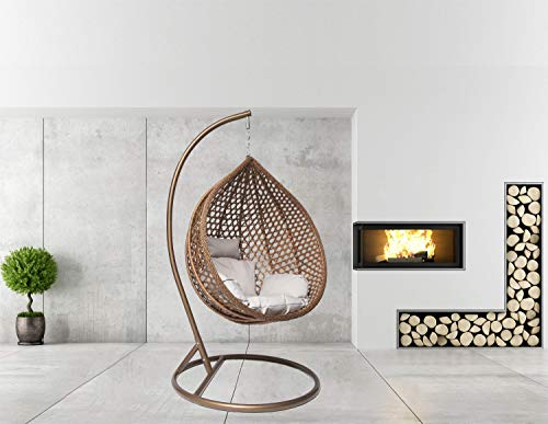 Goods Emporium Hanging Rattan Egg Swing Chair Patio Garden Cocoon Relaxing Hammock with Cushions (Large, Brown - Brown - Grey)