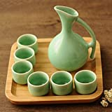 JSMY Set di Sake Cinese Antico Celadon Retro Tazze in Ceramica Artigianato Bicchieri da Vi...