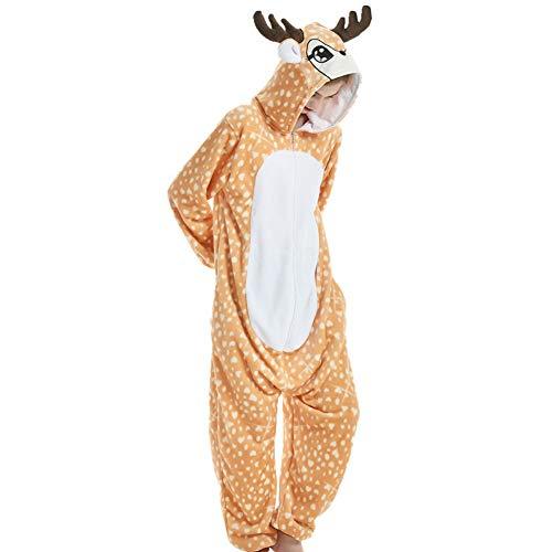 LPATTERN Erwachsene Damen/Herren Cartoon Kostüm- Jumpsuit Overall Schlafanzug Pyjamas Einteiler, Gelb und Weiß Giraffe/REH, XL für Körpergröße 173-185CM