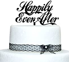 Happily Ever After Script Acrylic Wedding Cake Topper (Black)