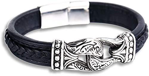 WoShen Pulseira Vikings Totem Weave de couro legítimo, talismã nórdico esculpido, talismã de runa nórdico, suporte de amuleto de aço inoxidável, não desbotará, robusta e durável, 19,5 cm