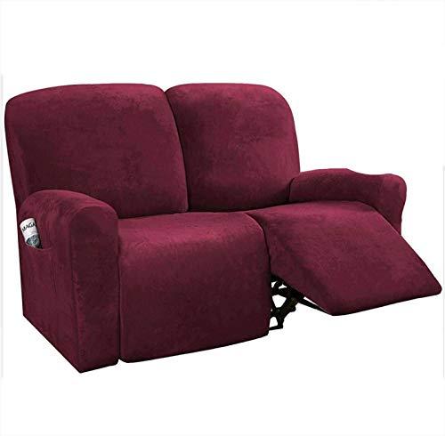 SLOUD Cubiertas de 6 Piezas de Terciopelo Estiramiento reclinable sofá, para cojín del sofá 3 Fundas Cubiertas para Muebles de Forma, Ajuste Personalizado Estilo Grueso Suave Lavable-Vino Rojo