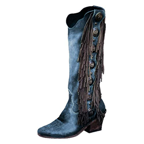 Womens High Boots Tassel PU Leather Boots Fashion Retro Long Boots Pointed Toe Thick Heel Faux Leather Boots Casual Fringed Boots Blue