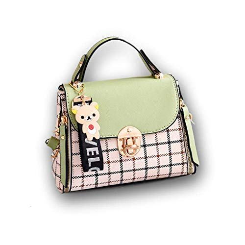 Ro Rox Bolsa de peluche - Bolso bandolera mini estilo retro vintage Para Mujer [Menta verde-Pequeña}