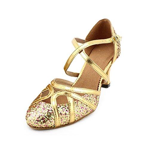 SUKUTU Frauen Geschlossene Zehe Tanzschuhe Latein Salsa Tango Ballroom Tanzen Schuhe für Lady SU026 (38 EU, Gold-6 cm)