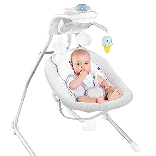 RONBEI Baby Swings for Infants, Cradle Swing, Electric Baby Swing Chair with 4 Swing Speeds/Vibration & Music (Light Grey)