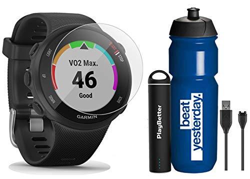 Garmin Forerunner 45S (Black - Small) Running GPS Watch Runner Bundle | +Garmin Water Bottle, HD Screen Protectors & PlayBetter Portable Charger | Garmin Coach, HR, Body Battery, Smart Notifications