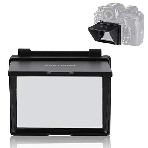 VBESTLIFE Professional Sonnenschirm für Niko n D500 Kamera, langlebiger entspiegelter Bildschirm LCD-Bildschirm Sonnenschirm Glashaube Zweiteiliges Design Schwarze Farbe für Niko n D500 Kameras